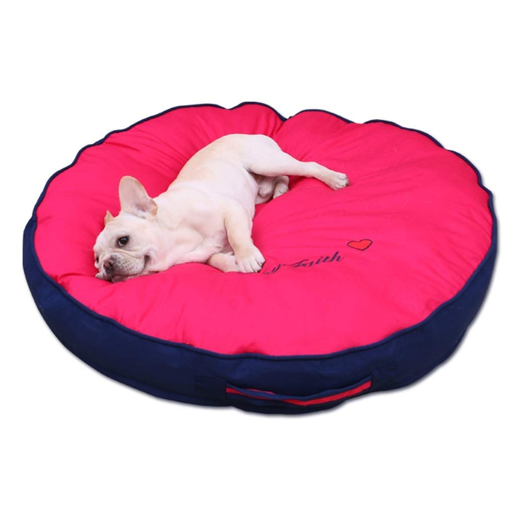L 808012cm SSB Pbeds Round Dog bed donut Extra Large Dog Bed Sofa For Convenient for travel Pet Cats Dogs Beds Red+bluee (Size   L 80  80  12cm)