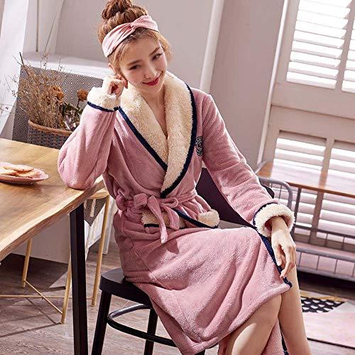 Franela Albornoz Pijamas color Cama Metro Otoño Servicio Manga Polar Bata Hogar Invierno Coral Pink Azul Tamaño Gjfeng E Grueso Larga De nOYCB0fxwq