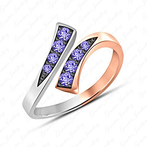 Gemstar Jewellery Round Cut Purple Tanzanite 14k Two Tone Gold Filled Adjustable Bypass Toe Ring ()