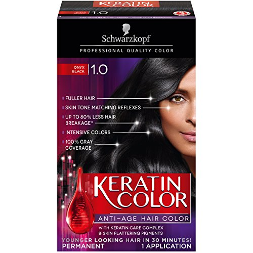 Schwarzkopf Keratin Color Anti-Age Hair Color Kit, 1.0 Onyx Black (Pack of 2) (Schwarzkopf Hair Color Black compare prices)
