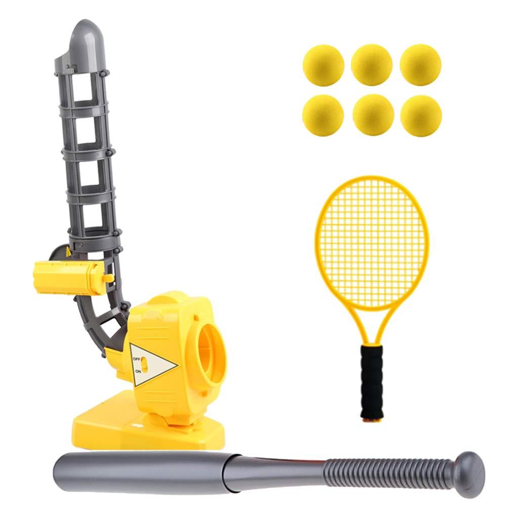 B Blesiya Ballsport Pitching Maschine Set mit Baseballschläger Tennisschläger und Kugel für Outdoor Spiele