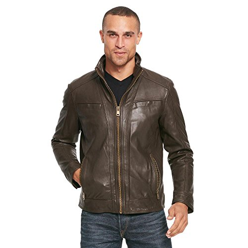 Wilsons Leather Mens Vintage Genuine Leather Jacket W/Seam Detail L Brown (Genuine Leather Jacket Coat)