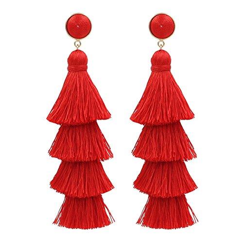 Tassel Earrings Fringe Drop Long Dangling Tiered Thread Earrings w/ Gabriela Stud and Surgical Steel Posts