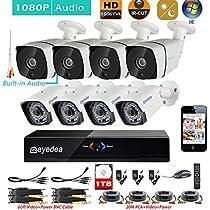 Eyedea H 1080P 8 CH DVR Audio Night Vision Video Surveillance CCTV Security Camera System 1TB Hard drive