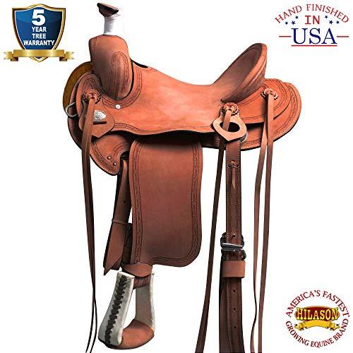 HILASON 16″ Big King Series Western Wade Ranch Roping Cowboy Saddle Oiled