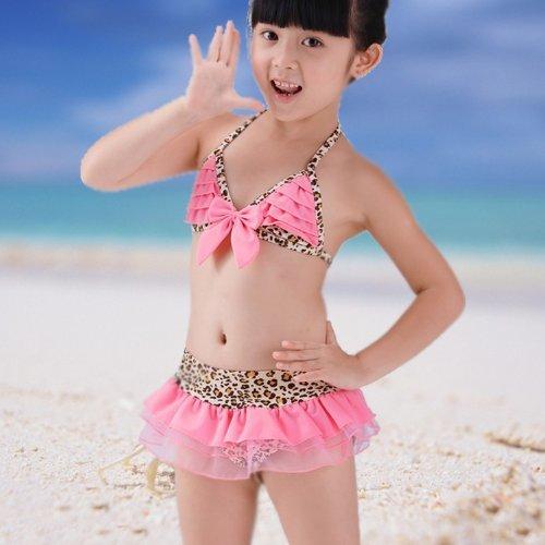 Price comparison product image Leopard Bikini Top&Bottom w / Hat Beachdress Girls Swimsuit Kids Swimwear 3T100 ,  Model