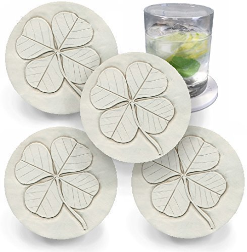 Drink Coasters by McCarter Coasters, Clover, Shamrock, Irish Absorbent, Light Beige 4.25 inch (4pc) -
