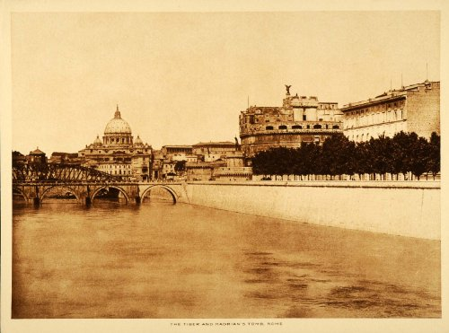 Rome Tiber River Mausoleum Hadrian Castel Sant'Angelo Tomb - Original Intaglio Print (Reverse Intaglio)
