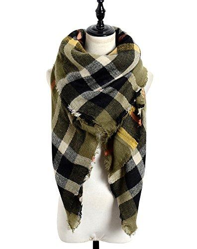 Sundayrose Plaid Blanket Scarf Oversized Square Tartan Shawl Wrap - (Olive Reversible Blanket)