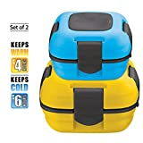 Pinnacle Thermoware 16 and 33-Ounce Thermal Isulated Lunch Box, Yellow and Blue (Set of 2)