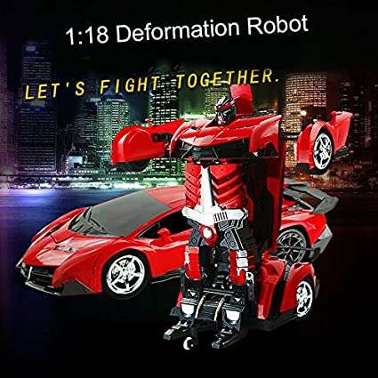 Electronic Remote Control RC Vehicles with One Button Tranforming and Realistic Engine Sound Best Gift for Kids and Adults junchuang Transforming Robot Remote Control Car