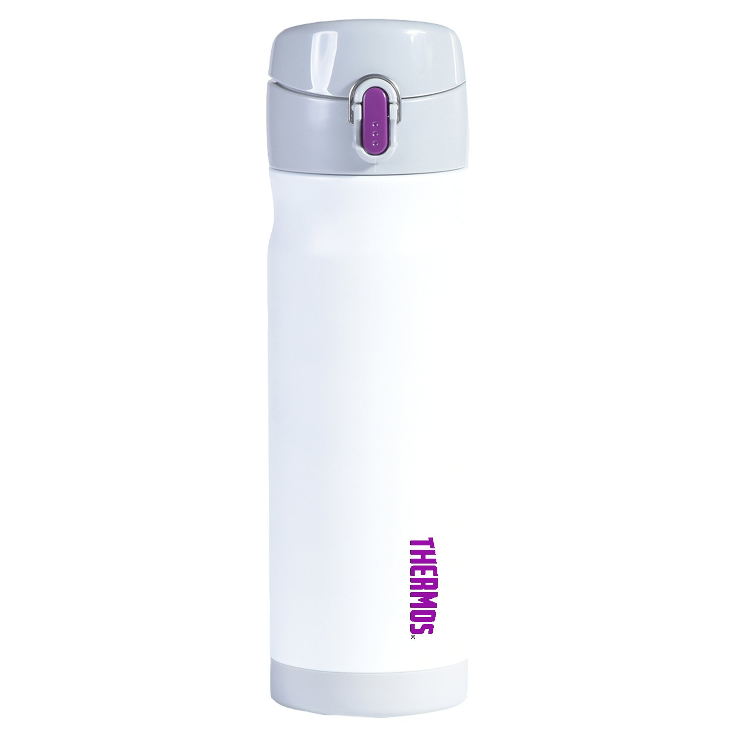 Thermos Vacuum Insulated Stainless Steel Commuter Bottle, 16-ounce, White w/Purple Accent