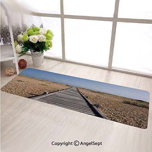 Super Soft Indoor Modern Long Carpet,Raised Wood Boardwalk across a Pebble Coastline Stone Endless Road Blue Brown Cream,For Dining Room Home Bedroom Carpet Floor Mat
