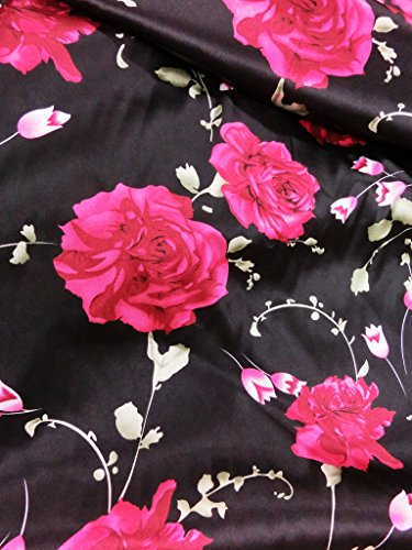 Rose Floral Fabric (Red Roses Floral Black Satin Fabric 48