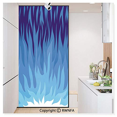 Non-Adhesive Privacy Window Film Door Sticker Abstract Gas Flame Background Exploding Motion Energy Fire Modern Illustration Glass Film 23.6 in. by 78.7in. (60cm by 200cm),Violet Blue