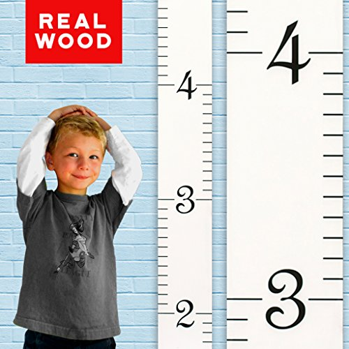 Art For Kids Growth Chart - Growth Chart Art | Wooden Growth Chart Ruler Kids Height Chart for Boys + Girls | Measuring Kids Height Wall Décor | White with Black Numerals