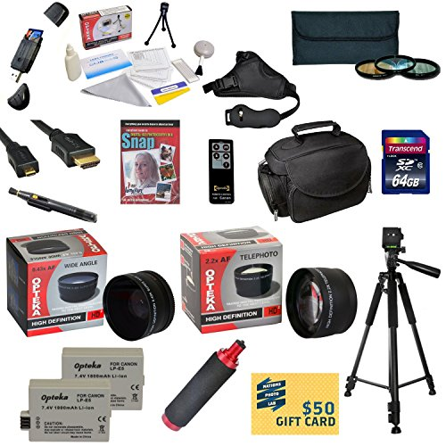 47th Street Photo Ultimate Accessory Kit for the Canon 450D, 1000D, XS, XSi, Kiss X2 - Kit Includes: 64GB High-Speed SDXC Card + Card Reader + 2 Extended Life Batteries + Travel Charger + 58MM 0.43x HD2 Wide Angle Macro Fisheye Lens + 58MM 2.2x HD2 AF Tel by 47th Street Photo