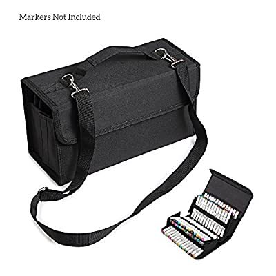 MountArt 80 Slot Marker Pen Case,Marker Case Holder/Organizer with Carrying Handle Perfect for Permanent Paint Marker, Dry Erase Marker, Repair Marker Pen