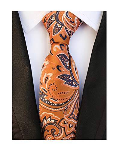 Tangerine Paisley Tie - Men's Ties Orange Floral Fashion Woven Silk Paisley Party Wedding Neckties Gifts