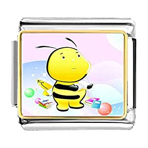 Chicforest Gold Plated The Read Book Honeybee Bracelet Link Photo Italian Charms