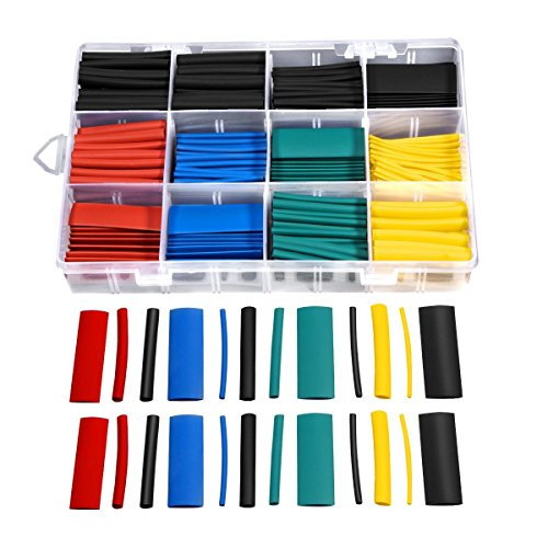 Eletecpro 530pcs Heat Shrink Tube Tubing Assortment Electronic Polyolefin Ratio 2:1 Wrap Wire Cable Sleeve Tubes Set