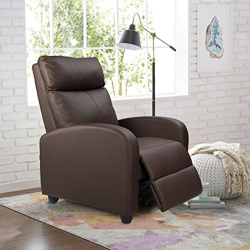 Homall Single Recliner Chair Padded Seat PU Leather Living Room Sofa Recliner Modern Recliner Seat Club Chair Home Theater Seating (Brown) (For Leather Small Sale Armchairs)