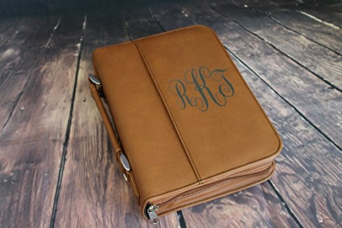 Select your Size-Bible Case Cover Rawhide Brown or Tan Laser Engraved Monogram Bible Case Cover with Zipper (Tan Rawhide)