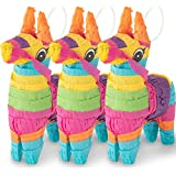 Meklines Mini Donkey Pinata – Set of 3 Rainbow-Colored Donkey Pinatas– Ideal for Cinco de Mayo, Fiesta Décor, Birthday Celebrations & Mexican Party Decoration. Party Supplies| Animal Pinata. 4''x 7''