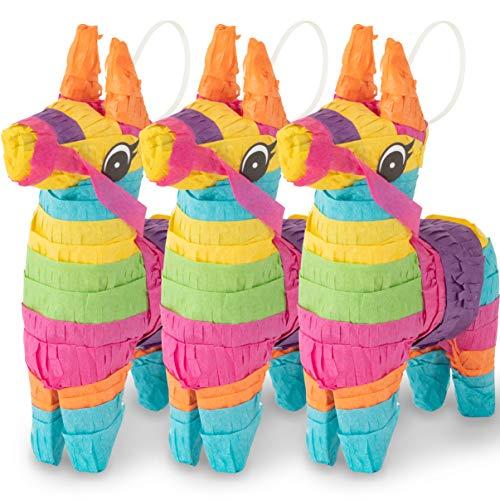 Meklines Mini Donkey Pinata - Set of 3 Rainbow-Colored Donkey Pinatas- Ideal for Cinco de Mayo, Fiesta Décor, Birthday Celebrations & Mexican Party Decoration. Party Supplies| Animal Pinata. 4