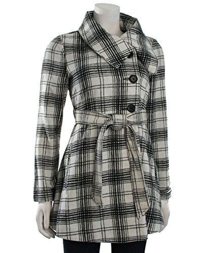 Jack by BB Dakota Women's Kinsey Plaid Print Wool Blend Coat, Black/White, Large - Print Wool Blend