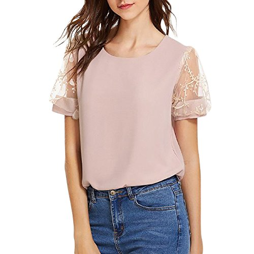(Women's Chiffon Lace Patchwork Short Sleeve High Low Loose T Shirt Basic Tee Tops Pink)