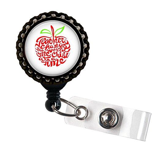 Teachers Change the World Resin Black Retractable Badge Reel ID Holder