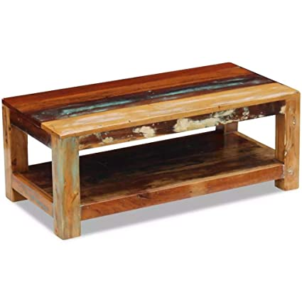 Amazoncom Festnight Rustic Coffee Table Storage Shelf Reclaimed