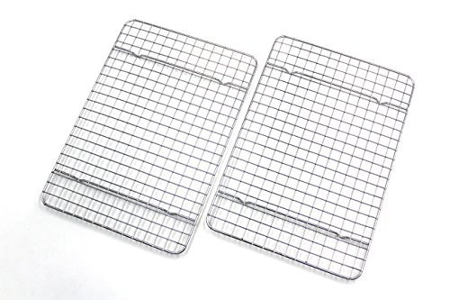 Checkered Chef Cooling Racks For Baking - Quarter Size - Stainless Steel Cooling Rack/Baking Rack Set of 2 - Oven Safe Wire Racks Fit Quarter Sheet Pan - Small Grid Perfect To Cool and Bake (Best Pan To Cook Bacon)