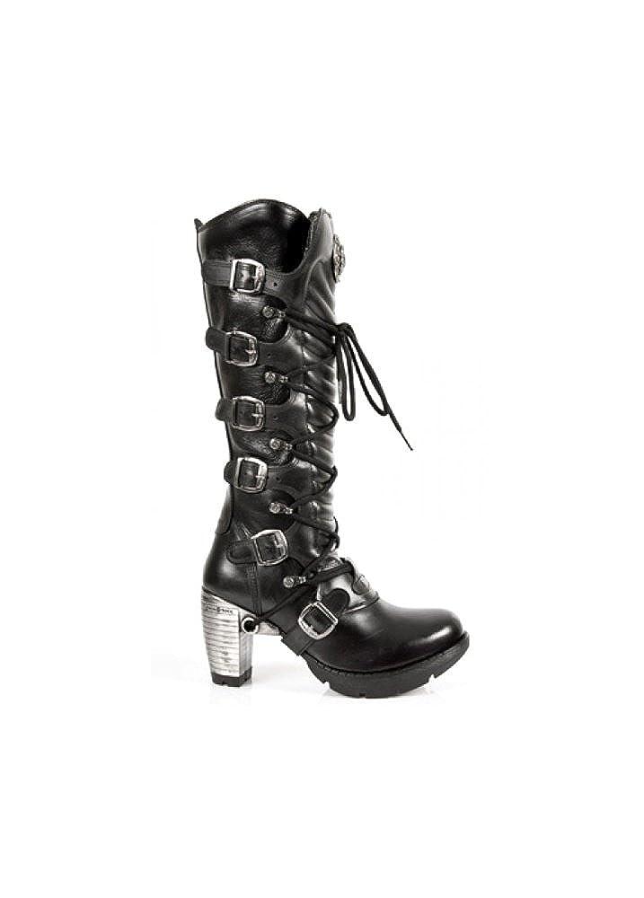 NEWROCK NEWROCK NEWROCK New Rock TR004 S1 Ladies schwarzen Lederschnalle Spitze kniehohe Stiefel mit Reißverschluss Größe 36 af2231