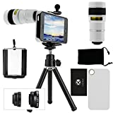 CamKix® 9 Piece Camera Lens Kit for iPhone 5 including 1 White 8x Telephoto Lens / 1 Fish Eye Lens / 1 Macro Lens / 1 Wide Angle Lens / 1 Mini Tripod / 1 White Hard Case / 1 Universal Phone Holder / 1 Velvet Phone Bag / 1 Cleaning Cloth (White)