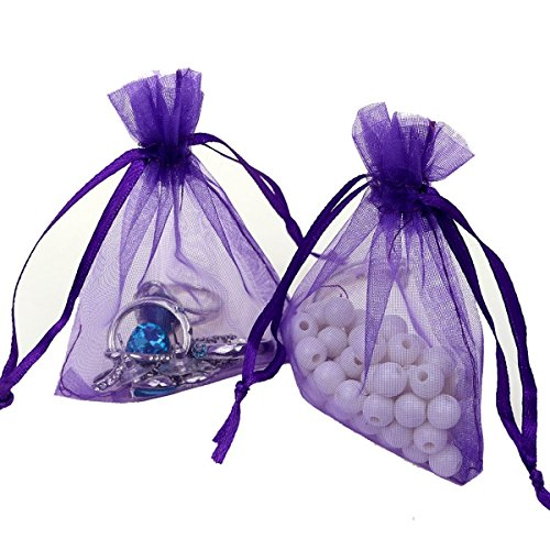 (Organza Bags 100pcs 4 x 6 Inch Gift Bags Organza Drawstring Pouch Jewelry Party Wedding Favor Party Festival Gift Bags Candy Bags (Purple))