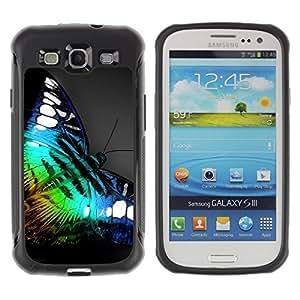 Fuerte Suave TPU GEL Caso Carcasa de Protección Funda para Samsung Galaxy S3 I9300 / Business Style Iridescent Butterfly Blue Green Nature