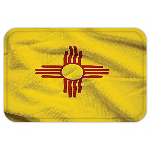 VROSELV Custom Door MatAmerican Decor Collection New Mexico of United StateFlag Sun Symbol of the Zia on a Field Waving Image Print Yellow - Zia Collection