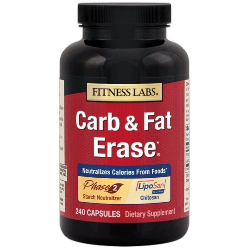 Fitness Labs Carb & Fat Erase Diet, with 500 mg LipoSan Ultra Chitosan and 500 mg Phase 2 White Kidney Bean Extract, 240 Capsules