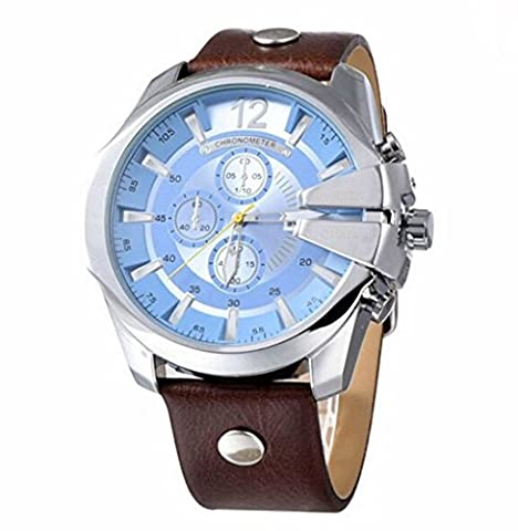 Curren 8176 Waterproof Men's Round Dial Quartz Wrist Watch With Leather Band Sports Watch (Real Gold G Shock Watches For Men)
