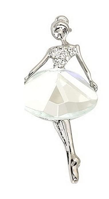 Demarkt Broche en la Forma de la Bailarina Alfileres-Blanco