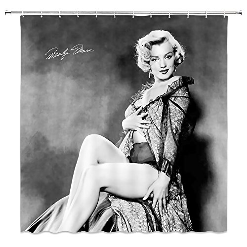 AMNYSF Sexy Woman Marilyn Monroe Decor Shower Curtain Vintage Classic Movie Star Portrait Fabric Bathroom Curtains Black and White,70x70 Inches Waterproof Polyester With Hooks ()