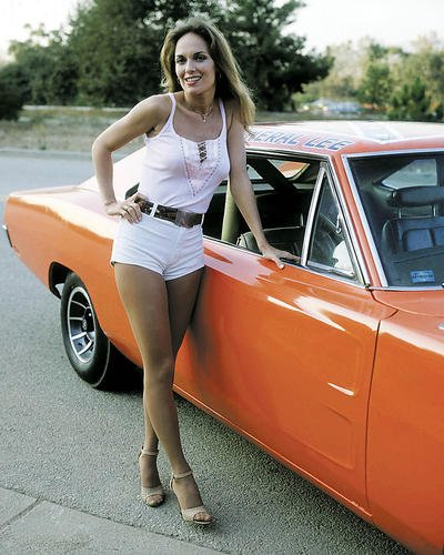 Catherine Bach poses by Dodge Charger Dukes of Hazzard Sexy 16x20 Poster