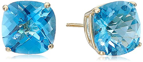 14k Yellow Gold Cushion-Cut Checkerboard Swiss Blue Topaz Stud Earrings (8mm) ()