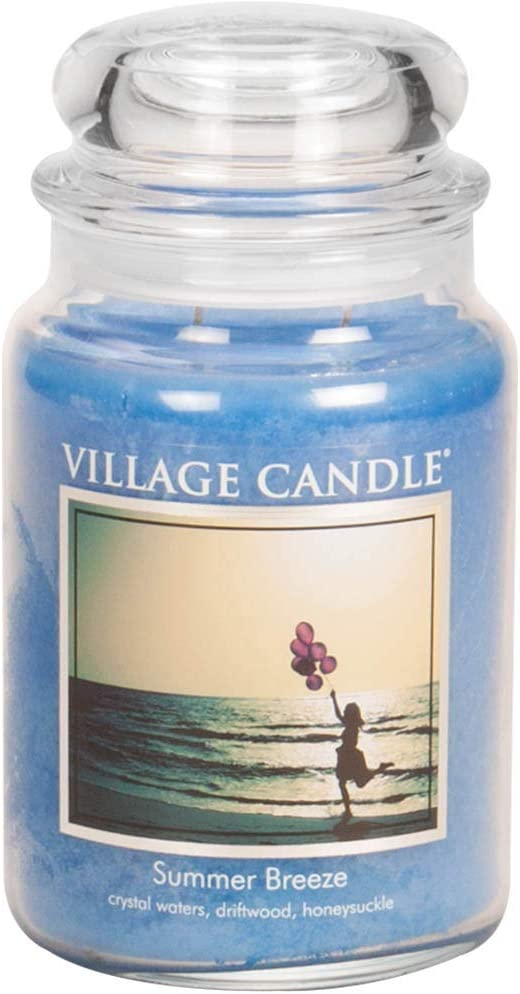 Village Candle Summer Breeze Large Glass Apothecary Jar Scented Candle, 21.25 oz, Blue