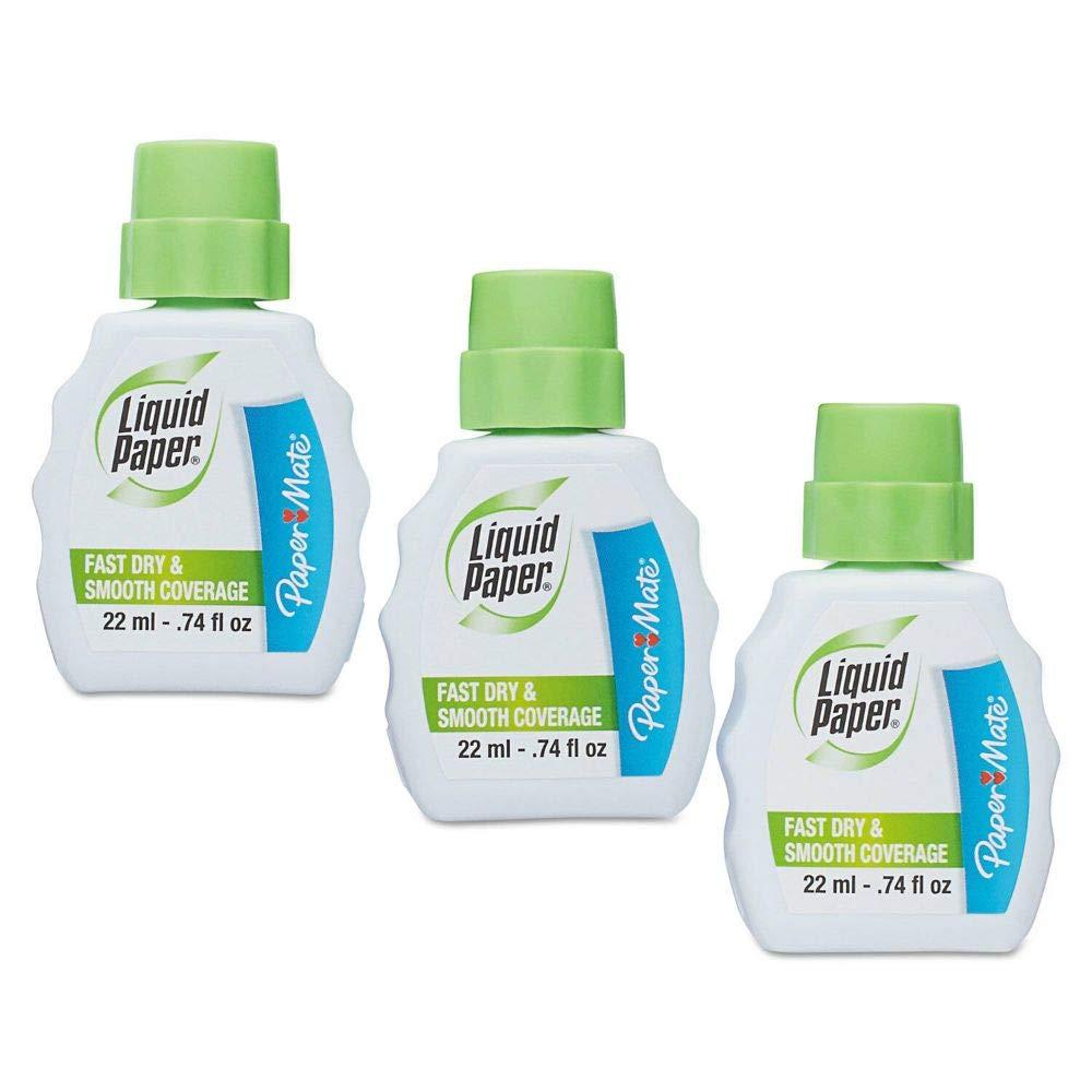 Liquid Paper Fast Dry Correction Fluid 22 ml Bottle White 3/Pack