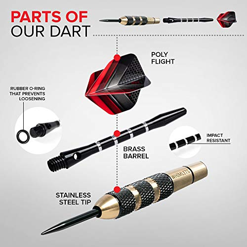 Whimlets Steel Tip Darts Set - Professional Darts Steel Tip for Dartboard with Extra Aluminum Shafts, O-Rings, Flights + Dart Tool and Sharpener + Gift Case + Darts Guide