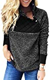 ECOWISH Womens Buttons Oblique Neck Fleece Pullover Hoodies Long Sleeve Blouse Casual Patchwork Sweatshirts Black L