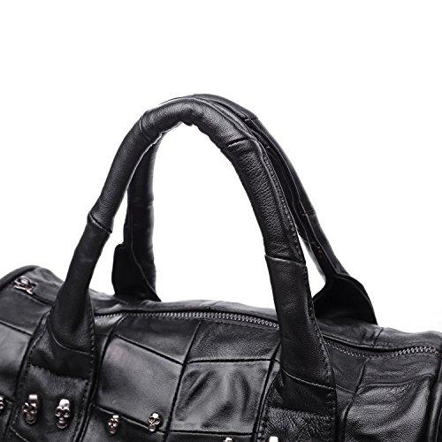 Jonon, borsa da 32cm, da donna, in pelle di agnello, stile dottore, borsetta con teschi, tempestato di teschi